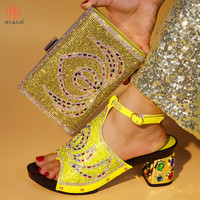 Yellow Color Italian Shoes with Matching Bags 2018 African Shoe and Bag Set Italian Design African Shoes and Bag Set For Wedding
