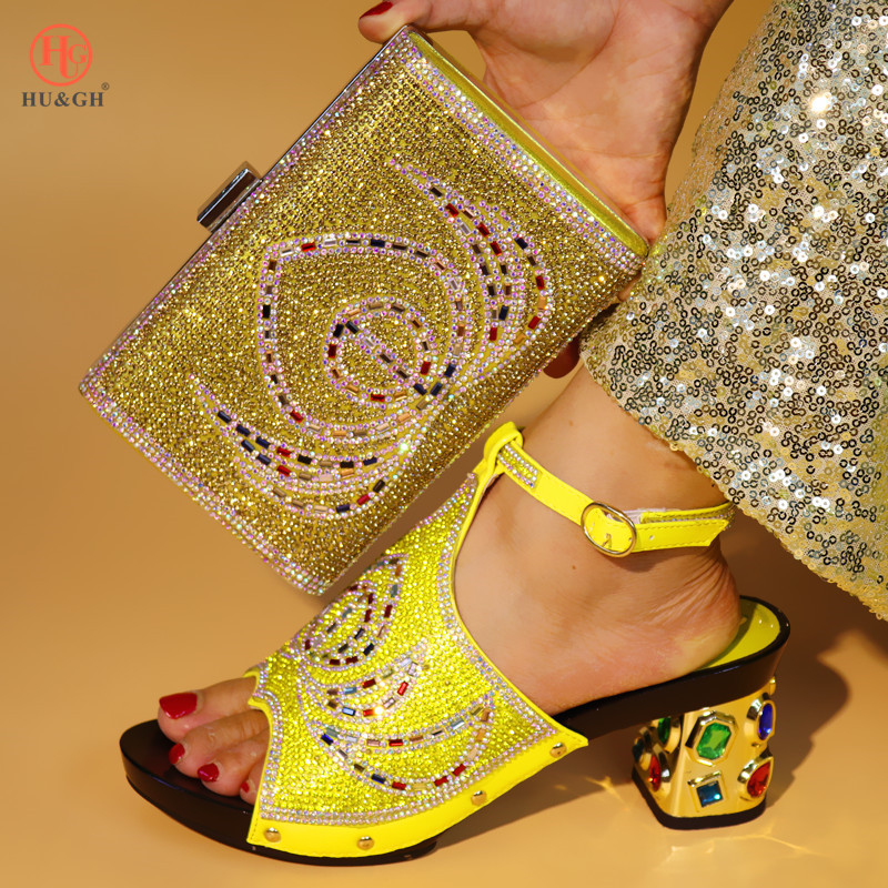 Yellow Color Italian Shoes with Matching Bags 2018 African Shoe and Bag Set Italian Design African Shoes and Bag Set For Wedding 2018 new arrival pink color italian shoe with matching bags shoes and bag set african sets 2018 shoe and bag italian design sets