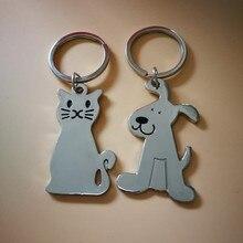 цена на 2pcs/set Zinc Alloy Cute Dog/Cat Keychain for Women Animal KeyChain Girls Kids Bag Charms Accessories Pendants Car Keychains