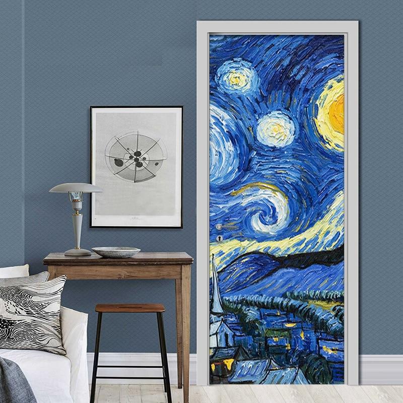 Decals Door Sticker Mural Van Gogh Starry Sky Creative PVC Wallpaper Self Adhesive For Renew Canvas Print Art Picture Home Decor