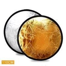 Riflettore 2 in 1 110 ซม.43 นิ้วแฟลชสตูดิโอพับ Reflector Light Disc Gold เงินขายส่ง Reflector กระเป๋า