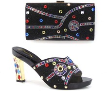 Edles Design Italien Mode Frauen Schuhe Und Taschen Zu Entsprechen Für Afrikanische Partei Oder Hochzeit Top Guality schwarz Farbe!! HQ1-1
