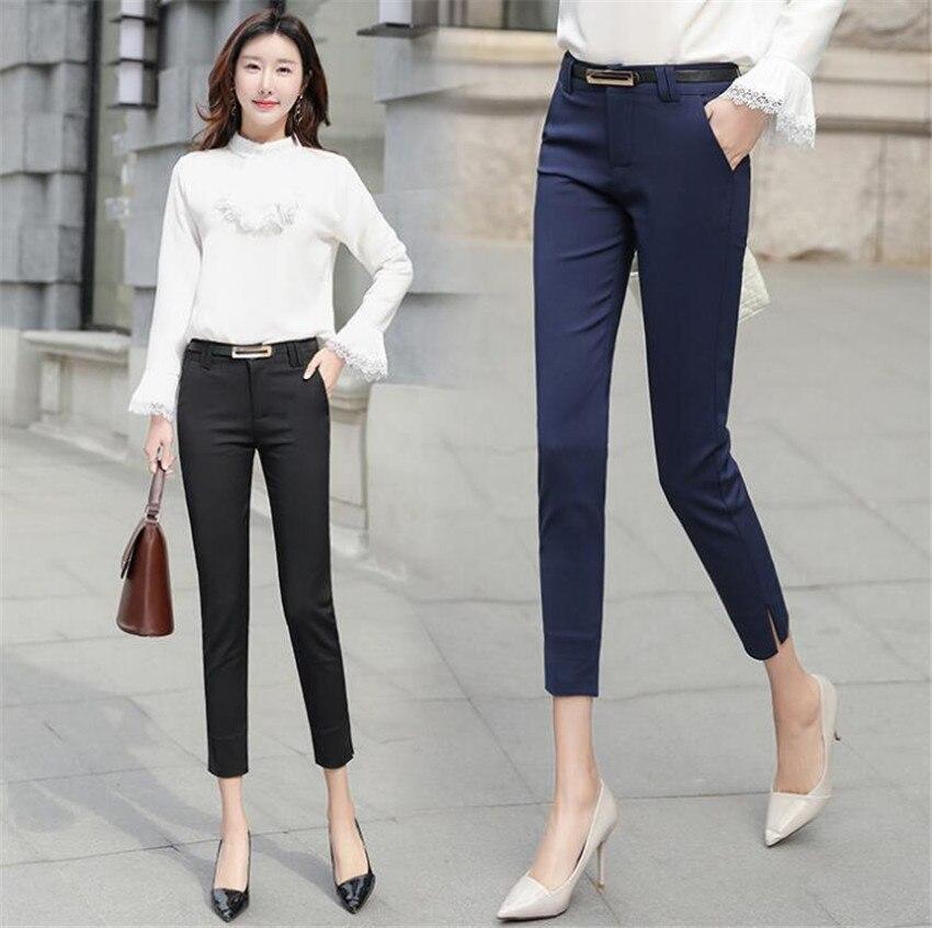 KMUYSL 2018 nuova versione Coreana piedi fasciati di alta vita sottile di colore Puro Vestito di pantaloni A Matita professionale KF011