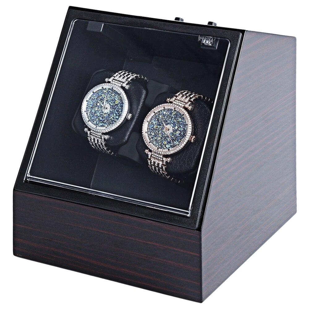 Wooden Auto Silent font b Watch b font Winder Irregular Shape Transparent Cover Wristwatch Box with