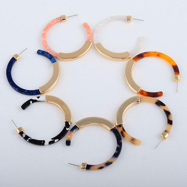 Fashion Bohemia Acrylic Acetate Hoop Earrings for Women Vintage Leopard Print Circle Hoops Alloy Earring za jewelry Female 2018 5