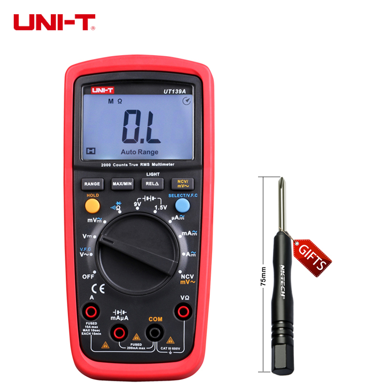 UNI-T UT139A True RMS Digital Multimeter Auto Range AC/DC Amp/Volts Ohm Tester with Data Hold, NCV,and Battery Test uni t ut205 ture rms auto manual range digital handheld clamp meter multimeter ac dc voltage aca test tool