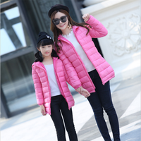 Mom And Daughter Clothes Thicken Down 2017 New Winter Plus Velvet Hooded Family Matching Clothes Cotton