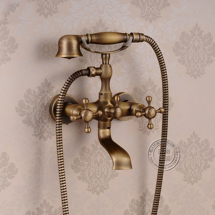 Shower Faucets Antique Bronze Bathtub Taps Wall Mount Telephone Style Washing Water Mixer Shower Set Bathroom Faucet HJ-6052 china sanitary ware chrome wall mount thermostatic water tap water saver thermostatic shower faucet