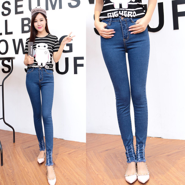 0ecda6ebad5 Free shipping 2015 autumn new women jeans Slim models skinny jeans female  feet was thin pencil pants denim trousers 6608