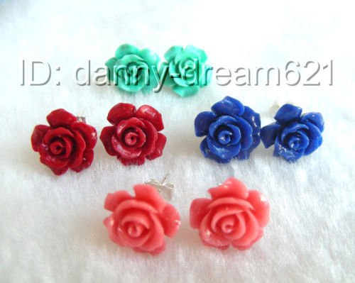 Hot sell Noble hot sell new Free shipping Superb 4pair 12mm pink red blue green carved rose flower earrings 925s a0733