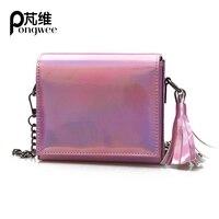 PONGWEE 2017 New Korean Fashion Tide Wild Shoulder Messenger Bag Mini Small Female Bag Chain Laser