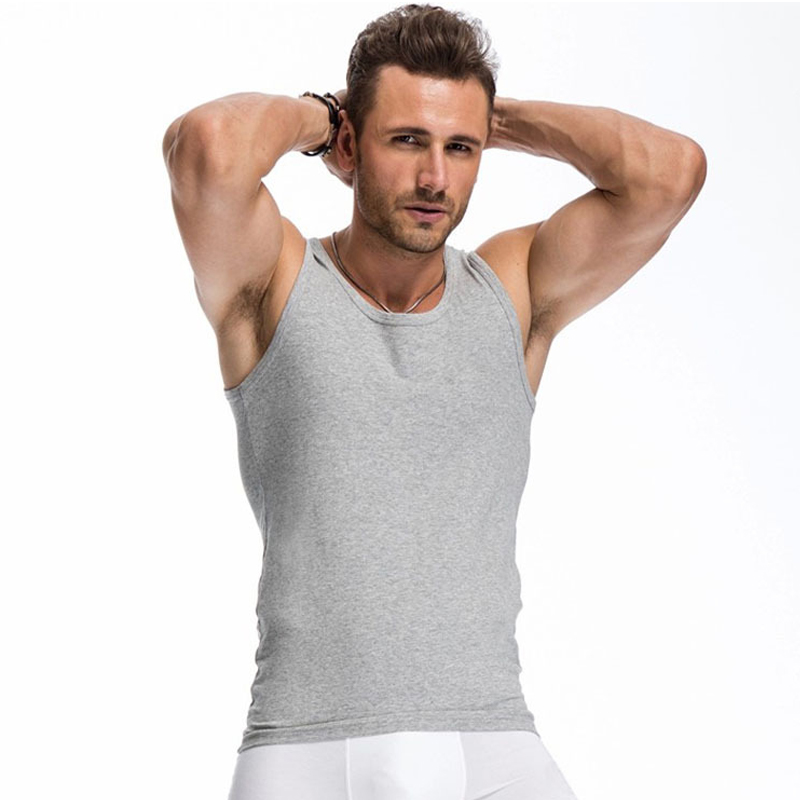 49ebc403032cb 2019 Summer Solid Color Cotton Tank Top Fitness Men clothing Sexy  Sleeveless O-neck Bodybuilding Undershirt Plus Size