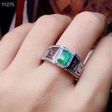 Кольцо с натуральным изумрудом,, Настоящее серебро 925 пробы, хорошее ювелирное изделие, драгоценный камень для мужчин или женщин