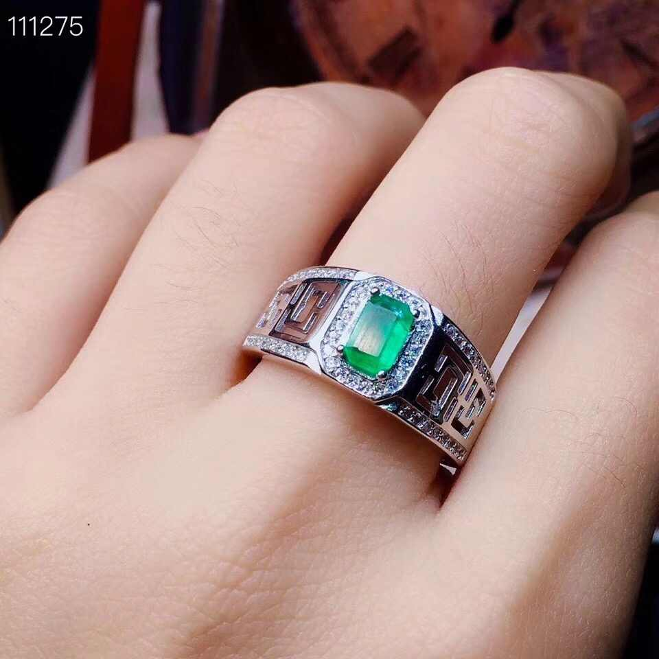 Natural emerald ring Free shipping 925 sterling silver  Fine jewelry Gem For man or Wown