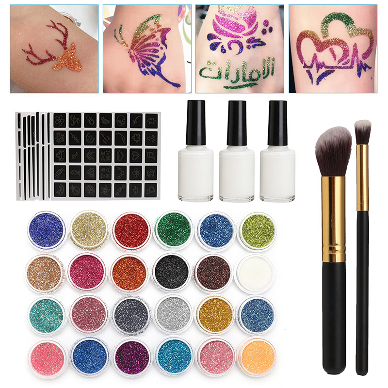 Brush Glitter-Powder-Set Temporary-Tattoos-Tools Body-Painting Glue 118-Pattern