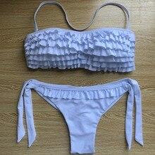 AUYLVY Biquini 2019 Ruffled Swimsuit women Ruffled Bandage Split Halter Shower SwimwearSet BeachwearPrint Ruffle Bikini Push Up