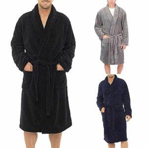 Image 3 - Vêtements de nuit pour hommes longues Robes col châle corail polaire peignoir Spa pyjamas doux
