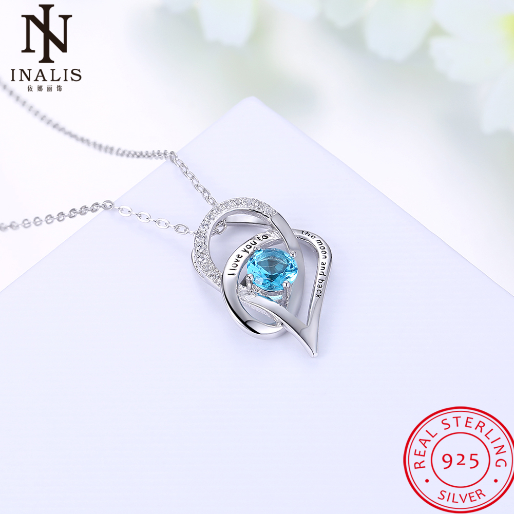 INALIS 8 Styles 925 Sterling Silver Necklace Heart Star Pends
