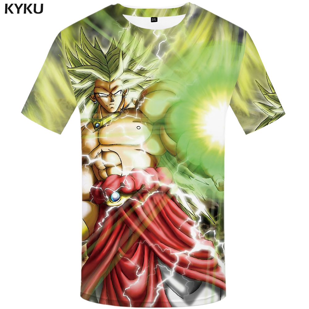 97d374ef KYKU Brand Dragon Ball Z T shirt Goku Tops Green Hair Tshirt Light Wave  Clothing Lightning shirts T shirt Men 3d-in T-Shirts from Men's Clothing on  ...