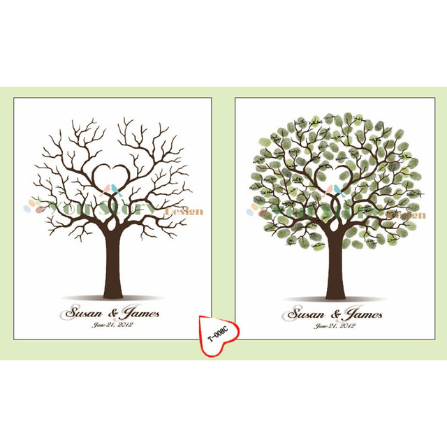 Personalize Fingerprint Wedding Tree Wedding Guest Book Tree Unique ...