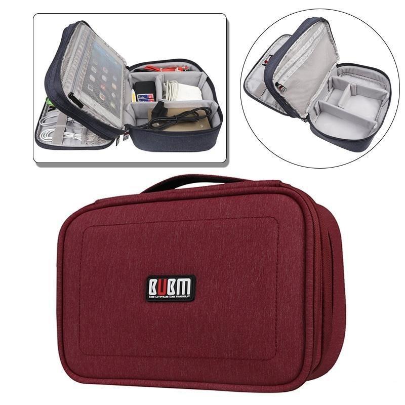 BUBM dubbele lagen Padded Electronics Accessories Bag Organizer voor - Home opslag en organisatie