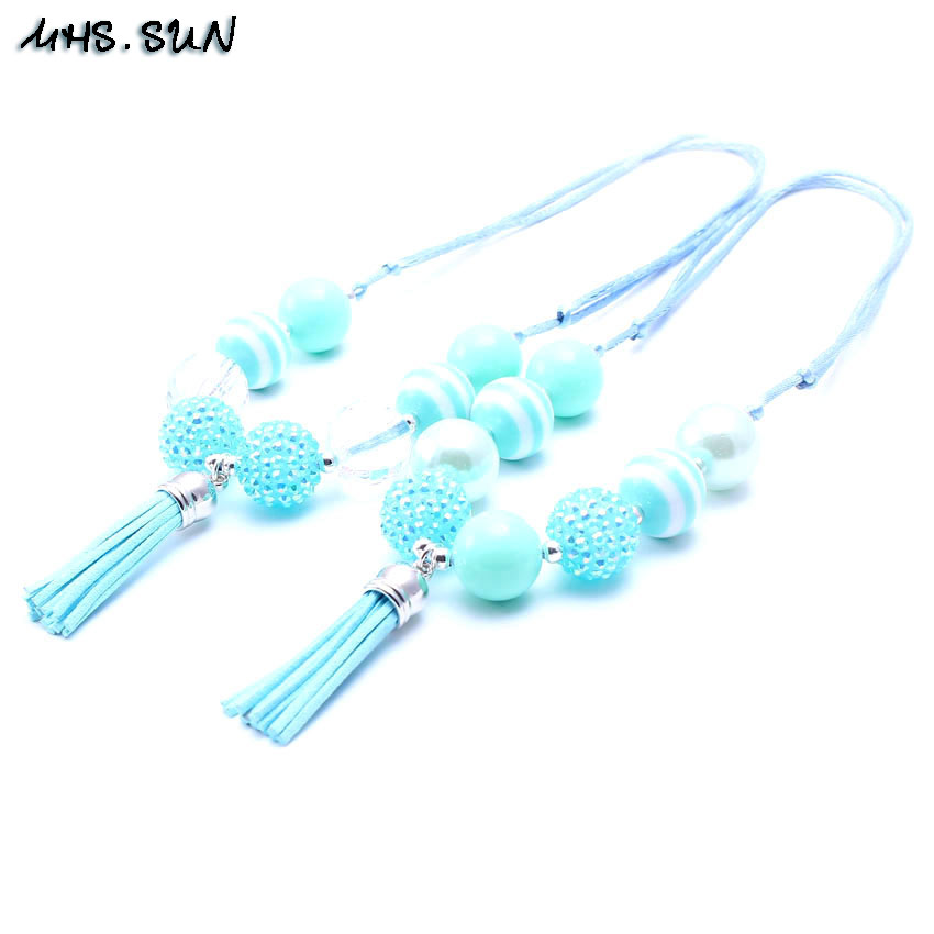 MSH.SUN Hot sale Handmade Kids Bubblegum tassel Necklace Adjustable rope jewelry Mint Green beads Necklace Summer style BN056