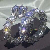 Винтаж кольца для новобрачных 925 безукоризненные Серебрянные Серьги Установка AAAA фианит Обручение обручальное кольца для мужчин и женщин у