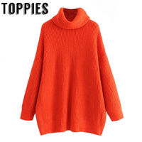 Winter Women Orange Color Turtleneck Knit Sweater Batwing Sleeves Oversize Knit Pullovers