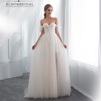Light Champagne Wedding Dresses Cheap 2020 Simple Robe De Mariee Off The Shoulder See Through Bridal Gowns Handmade Gelinlik