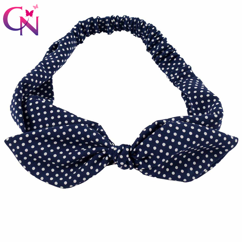 Polka Dots Fabric Rabbit Ear Headband For Women Lady Vintage Female Cotton Knot Bow Stretch Hairband Hair Accessories Headwear shanfu women zebra stripe sinamay fascinator feather headband fashion lady hair accessories blue sfc12441