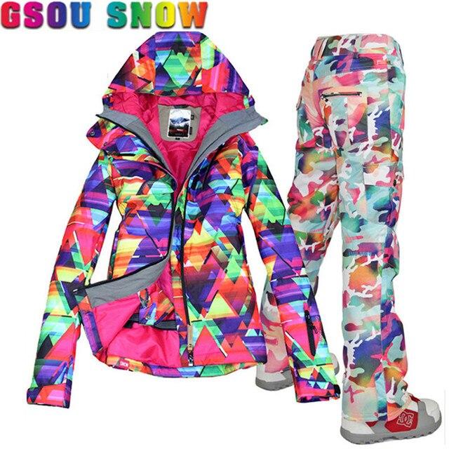 GSOU SNOW Brand Ski Suit Women Ski Jacket Pants Waterproof Snowboard Jacket  Pants Winter Outdoor Snowboard Suits Sport Jackets c4c7c70bf34b