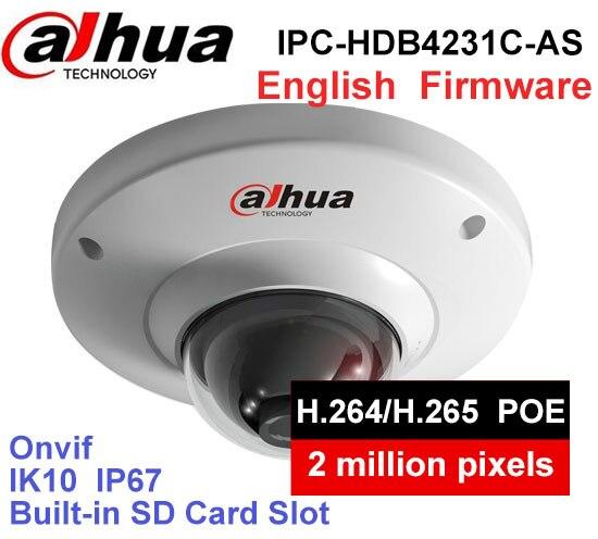 цена на Dahua IPC-HDB4231C-AS replace IPC-HDB4233C-SA dome camera 2MP IP67 IK10 built-in MIC with sd Card slot POE ip camera