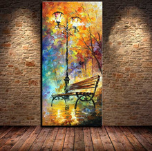 modern wall decor art set ABSTRACT street lights bench night scenery palette knife hand painted Oil  Painting on Canvas 1pn14