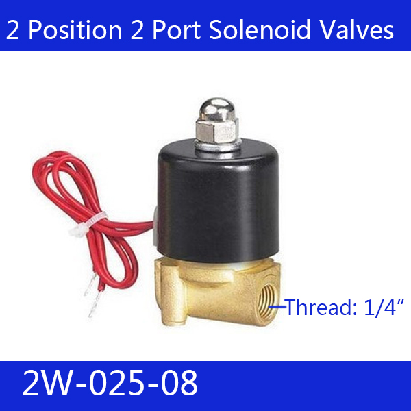 Free Shipping 1/4 2 Position 2 Port Air Solenoid Valves 2W025-08 Pneumatic Control Valve , DC12v DC24v   220v 20pcs free shipping 3v120 06 nc solenoid air valve 3port 2position 1 8 solenoid air valve single nc normal closed double control