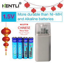 KENTLI 4pcs 1.5v 1100mWh AAA rechargeable polymer lithium battery + 4 slots aa aaa lithium battery charger with flashlight