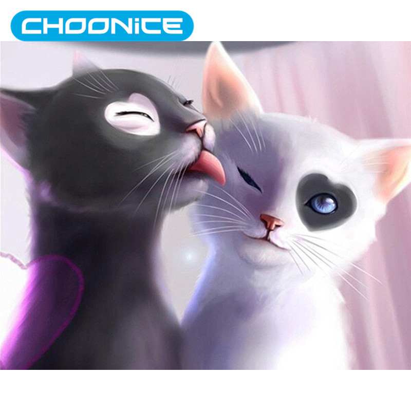 Cat Diamond Painting Couple Aats Black And White Cartoon DIY 3D Diamond Embroidery Love Pokemon Kiss The Kitten Paintings