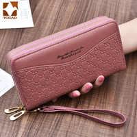 Carteira feminina portfel damski bolsa feminina duplo zip carteira grande feminina de couro genuíno designer carteiras monederos para mujer