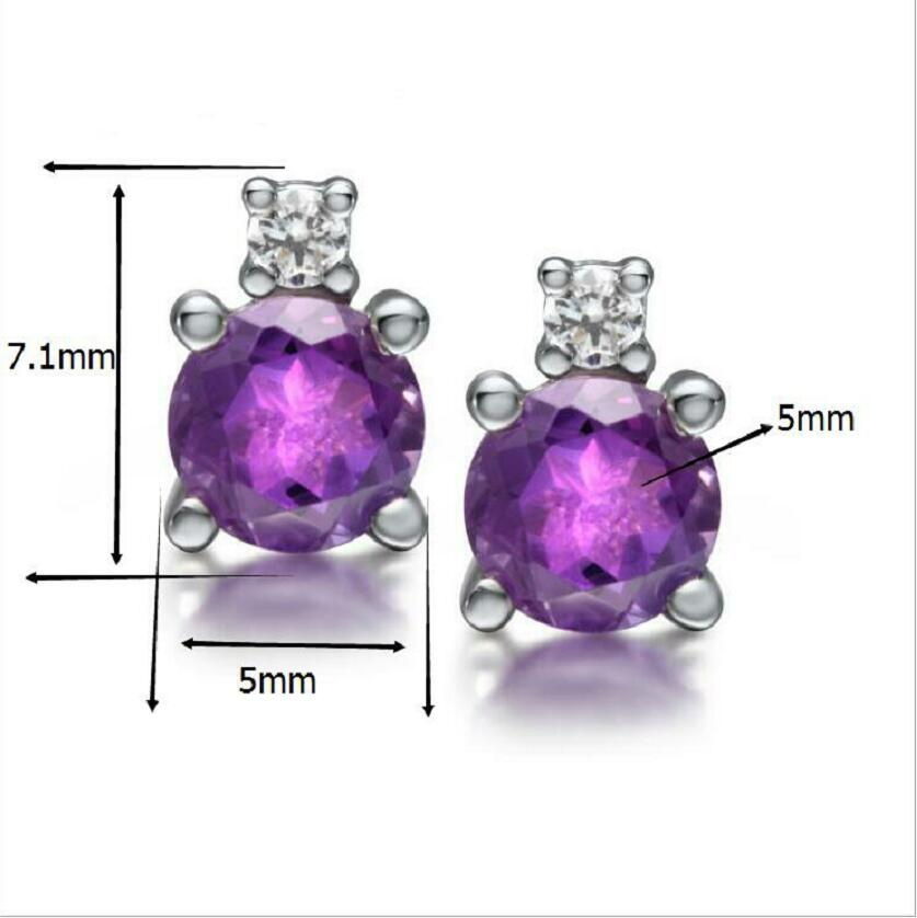 Fashion new 925 sterling silver earrings female natural amethyst diamond jewelry J0159 in Earrings from Jewelry Accessories