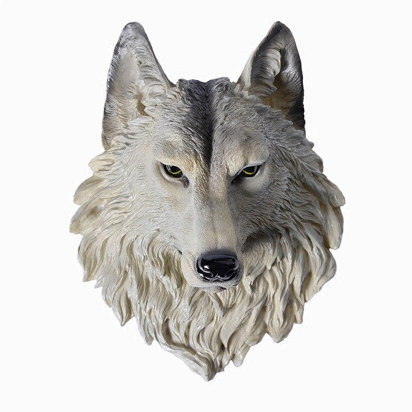 2019 grande taille tête de loup décoration murale tenture murale tête d'animal résine pendentif résine ornements muraux accessoires pour la maison meilleur cadeau