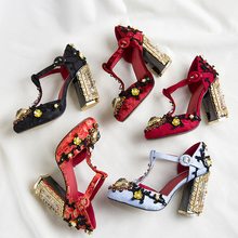 Women's T-type high heeled pumps shoes high quality embroidered rhinestone high heels Retro crystal party shoes EU34-41 BY651