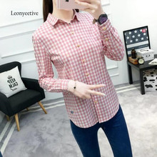 Leonyeetive Spring Summer Women Thin Shirt Bule Cotton Blouses Plaid Style Clothing  Long Sleeve Ladies Shirts XL