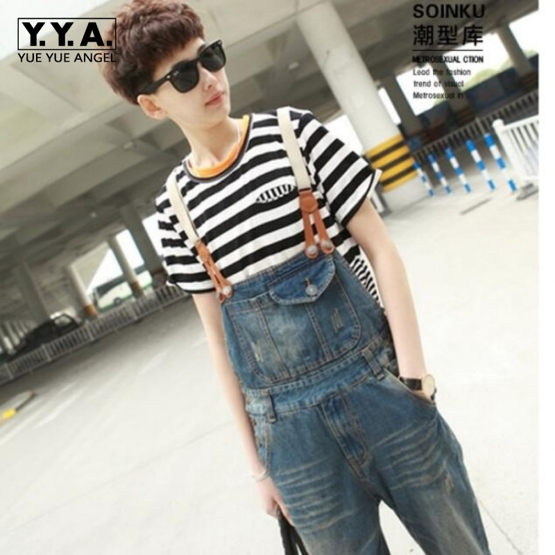 New Fashion Mens Overalls Stonewashed Denim Jumpsuit Pants Suspenders Hole   Ripped Jeans Plus Size M-2XL vaqueros Free Shipping free shipping 2016 plus size denim bib pants halter neck jumpsuit and rompers for women suspenders jeans ol straight trousers xl