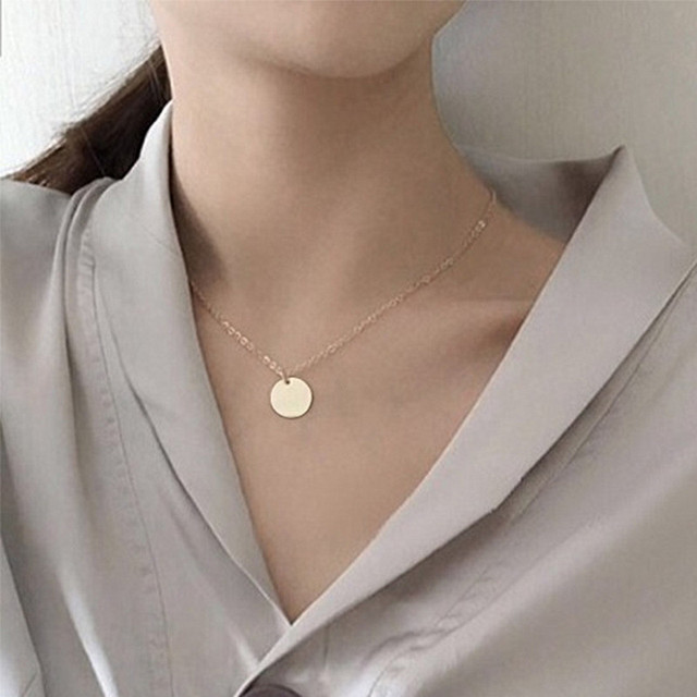 Punk Silver Gold Color Coin Necklace Dainty Disc Pendant Necklace Minimalist Gold Coin Layering Necklace Everyday Jewelry