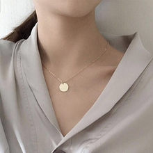 Punk Silver Gold Color Coin Necklace Dainty Disc Pendant Necklace Minimalist Gold Coin Layering Necklace Everyday Jewelry(China)