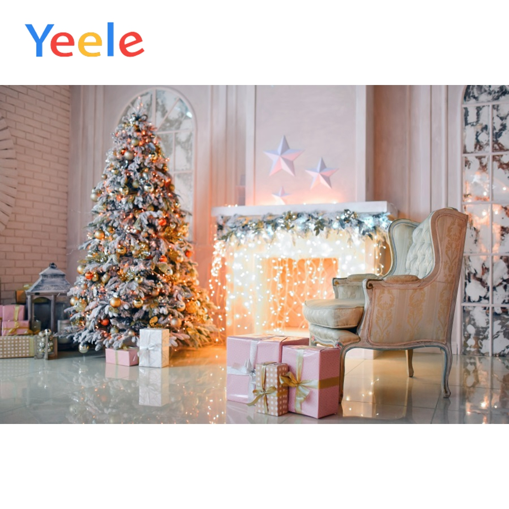 Yeele Boudoir Interior Christmas Tree Fireplace Scene Photography Background Kid Portrait Photographic Backdrop For Photo Studio