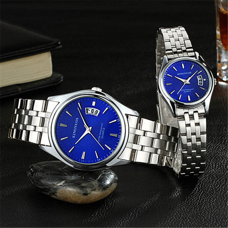 100% Authentic KINGNUOS Men Watch Fashion Couple High Quality Quartz Clock Watch Band Stainless Steel Man Waterproof Wrist Watch 100% authentic kingnuos men watch fashion couple high quality quartz clock watch band stainless steel man waterproof wrist watch