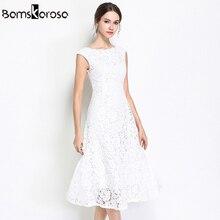 2f4d34bff4320 Nuevo vestido de encaje de fiesta de trabajo de verano ajustado sin mangas  de mujer Floral de ganchillo Casual blanco negro Vest.