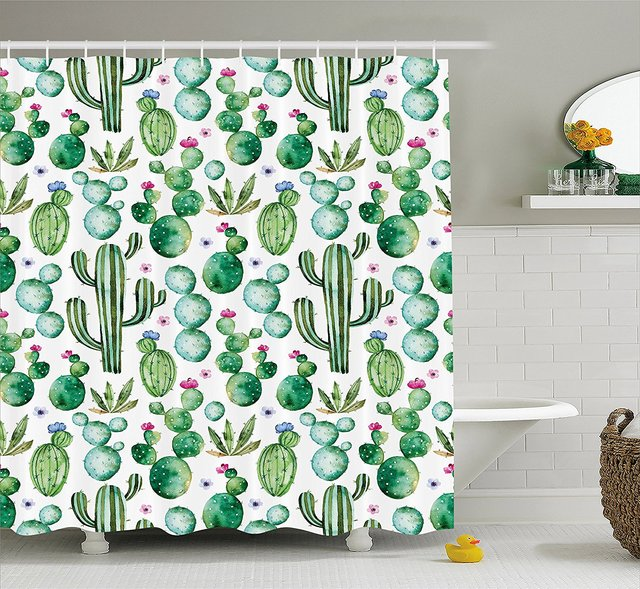 Green Decor Shower Curtain Mexican Texas Cactus Plants Spikes Cartoon Like Art Print White Light Pink