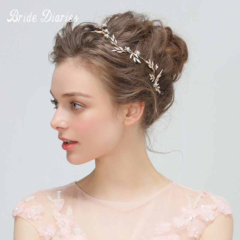 Bride Diaries Boho Gold Leaf Bridal Headband Rhinestone Opal Wedding Hair Accessories Vine Vintage Women Headpiece delicate rhinestone leaf link chain hair band for women