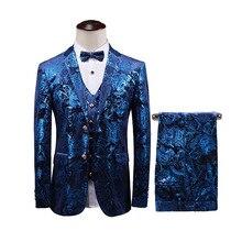 Mens suit mens three-piece (jacket + pants vest) spring and autumn new blue slim banquet party dress